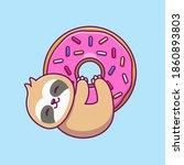 cute sloth hugging big doughnut....   Shutterstock .eps vector #1860893803