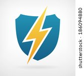 lightning and shield symbol... | Shutterstock .eps vector #186094880
