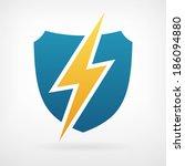 lightning and shield symbol... | Shutterstock .eps vector #186094880