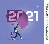 change year from 2020 to 2021... | Shutterstock .eps vector #1860951469