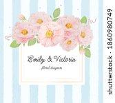 watercolor pink rose bouquet on ...   Shutterstock . vector #1860980749