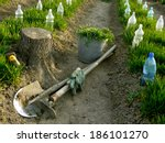 vegetable beds with plastic... | Shutterstock . vector #186101270