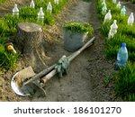 vegetable beds with plastic... | Shutterstock . vector #186101270