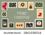 christmas postage stamps with... | Shutterstock .eps vector #1861038316