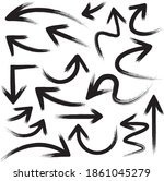 brush stroke set of black arrows   Shutterstock .eps vector #1861045279