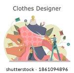 fashion or clothes designer...   Shutterstock .eps vector #1861094896