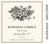 spring vector vintage floral... | Shutterstock .eps vector #186113444