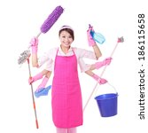 Woman Cleaning. Happy Smile...