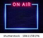 vector retro neon red on air... | Shutterstock .eps vector #1861158196