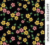 daisies with leaves pattern on... | Shutterstock .eps vector #1861161499