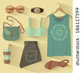 fashion set | Shutterstock .eps vector #186117599
