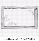 sketch a realistic gray tablet... | Shutterstock .eps vector #186120809