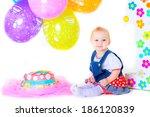 cute beautiful kid celebrate... | Shutterstock . vector #186120839