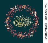 christmas wreath created in... | Shutterstock . vector #1861209793