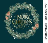christmas wreath created in... | Shutterstock . vector #1861209799