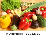colorful vegetables on a wooden ... | Shutterstock . vector #18612313