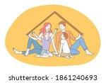 happy family  parenthood ... | Shutterstock .eps vector #1861240693