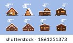 collection of winter houses.... | Shutterstock .eps vector #1861251373