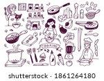 set of cooking doodle  kitchen...   Shutterstock .eps vector #1861264180