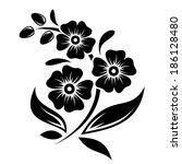 black silhouette of flowers.... | Shutterstock .eps vector #186128480
