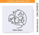 mass media industry line icon.... | Shutterstock .eps vector #1861284823