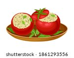 red tomatoes stuffed with rice...   Shutterstock .eps vector #1861293556