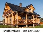 Log House Made Of Fir Logs In...