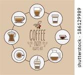coffee design over brown... | Shutterstock .eps vector #186129989