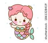 cute mermaid vector with heart... | Shutterstock .eps vector #1861328419