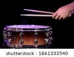 Drummer Playing Drum Sticks On...