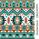 seamless colorful navajo pattern | Shutterstock .eps vector #186133994