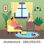 man sitting at armchair in... | Shutterstock .eps vector #1861356193