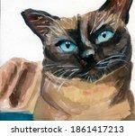 Watercolor Siamese Cat. Blue...