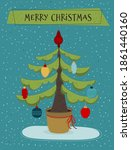 christmas tree decorated with... | Shutterstock . vector #1861440160