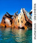 Small photo of Shipwreck of a tanker that ran aground off the coast of Crimea, Russia, 100 meters from the shore.