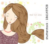young beautiful girl with long... | Shutterstock .eps vector #186145928