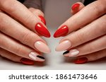 Bright Red Gel Polish With...