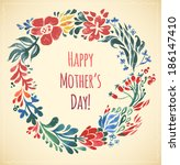 watercolor flower happy mother... | Shutterstock .eps vector #186147410