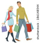 happy couple with shopping | Shutterstock . vector #186148544