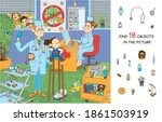 find 18 objects in the picture. ... | Shutterstock .eps vector #1861503919