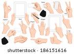 big set of hands and gestures.... | Shutterstock .eps vector #186151616