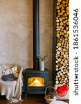 Retro Fireplace  Wood And...