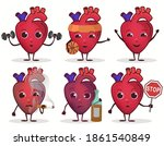 heart character set  healthcare ... | Shutterstock .eps vector #1861540849