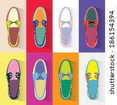colorful boat shoes | Shutterstock . vector #186154394