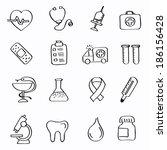 vector black medicine and heath ... | Shutterstock .eps vector #186156428