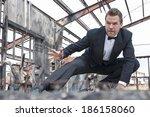 handsome tough caucasian man in ... | Shutterstock . vector #186158060