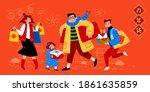 banner illustration of cute... | Shutterstock .eps vector #1861635859