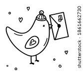 Cartoon Bird With An Envelope...