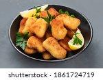 Crispy Chicken Nuggets On Grey...