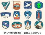 set of space mission logo ... | Shutterstock .eps vector #1861735939
